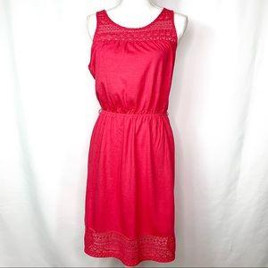 GAP Red/Coral 100% Cotton Midi Dress Medium